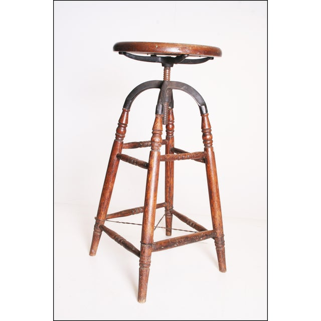 Vintage Industrial Wood & Cast Iron Adjustable Counter Stool - Image 5 of 11