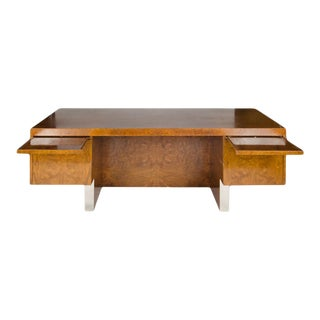 Pace Mid-Century Burl Wood and Chrome Executive Desk For Sale