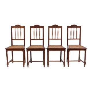 Antique English Brass and Oak Spindle Chairs, S/4 For Sale