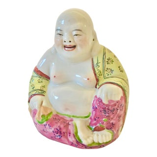 Vintage Mid-Century Chinoiserie Laughing Buddha Statue - For Sale