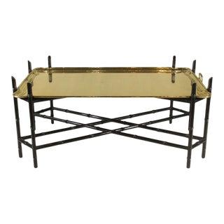 1960s Regency Style Brass Tea Table For Sale