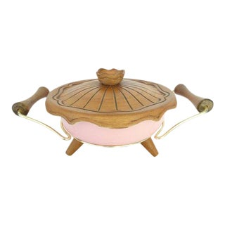 1960s California Pottery Miramar Ovenproof 139 Pink Casserole Dish With Lid & Stand For Sale