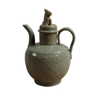Chinese Handmade Ceramic Gray Green Floral Motif Jar For Sale