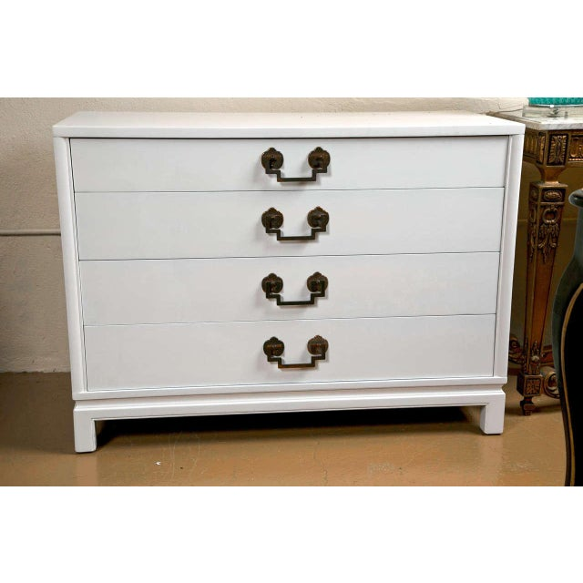 Hollywood Regency A Hollywood Regency Style Painted Bachelor Chest/Commode For Sale - Image 3 of 10