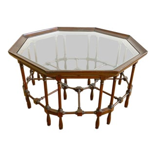Vintage Octagon Shaped Wood & Glass Coffee Table For Sale
