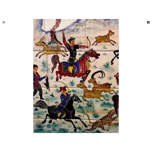 Hand Painted Persian Tile Panel Hunt Scene / Persian Miniature Art Mosaic For Sale - Image 4 of 8
