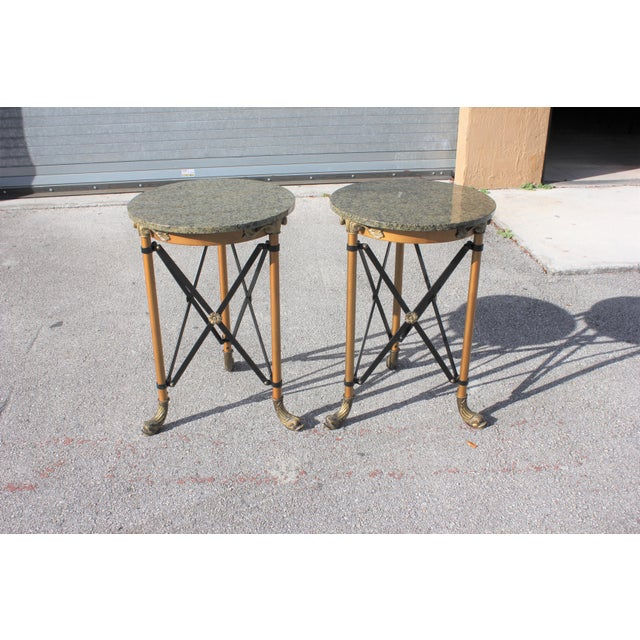 Fine pair of French Neoclassical style bronze side table or accent table marble top circa 1920s Very nice bronze fish...