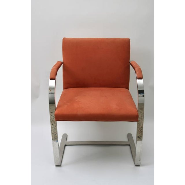 This set of six Brno chairs with their solid, polished steel frames date from the 1970s are upholstered in a salmon...
