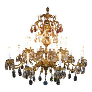 Vintage French Brass Bronze Wide Cut Lead Crystal Chandelier For Sale