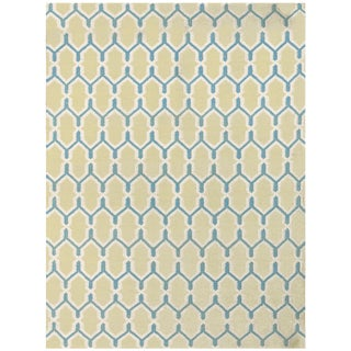 Zara Trellis Yellow Flat-Weave Rug 3'x5' For Sale