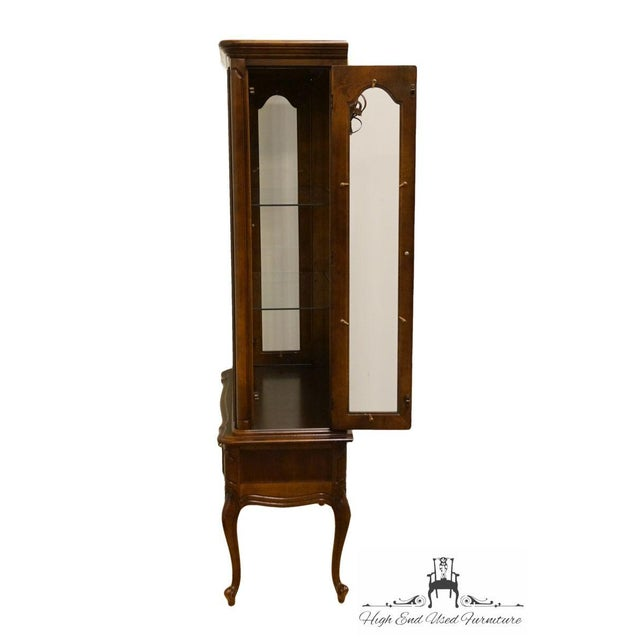 Brown Hammary Solid Cherry Louis XVI Country French Lighted Curio Display Cabinet For Sale - Image 8 of 13