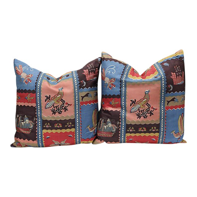 1920s Hand Blocked Silk Pillows - a Pair For Sale