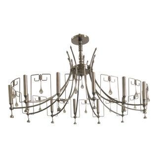 Art Deco Style Custom Handmade Nickel Chandelier With Hanging Modern Bells For Sale