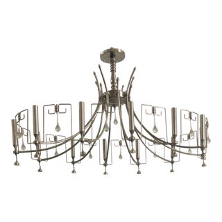 Art Deco Style Handmade Nickel Chandelier With Hanging Modern Bells For Sale