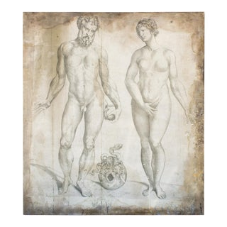 Oversized Adam & Eve Print on Wood by Andreas Vesalius For Sale