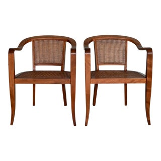 1950s Vintage Edward Wormley Armchairs Re-Caned- A Pair For Sale