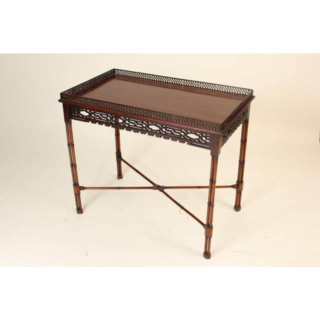 1940s Chinese Chippendale Style Mahogany Tea Table For Sale - Image 5 of 13