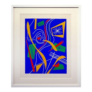 1970s Abstract Silkscreen Print by Carl Kent, Framed For Sale