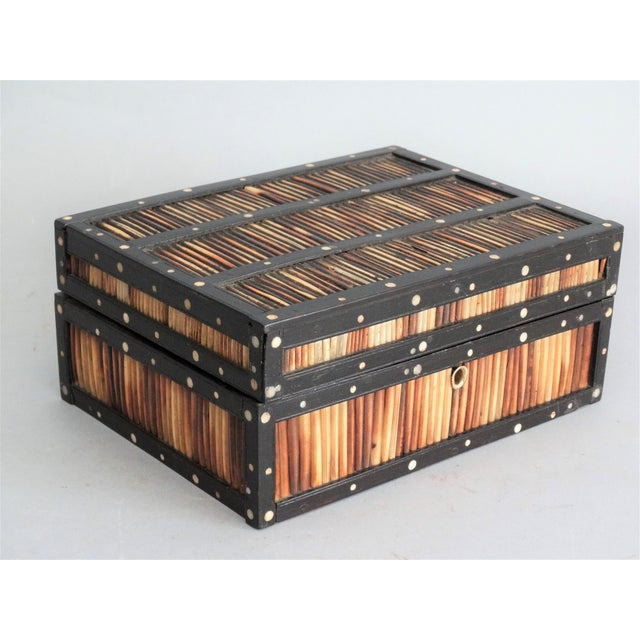 Antique Quill & Bone Ebony Box For Sale In Houston - Image 6 of 7