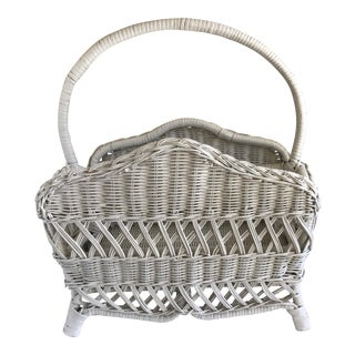 Vintage White Wicker Woven Basket For Sale