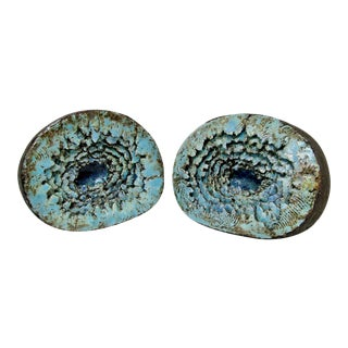 Artisan Ceramic Geode Bookends - a Pair For Sale