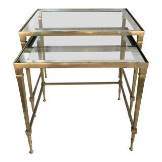 Mid Century Brass & Glass Nesting Coffee Tables - A Pair For Sale