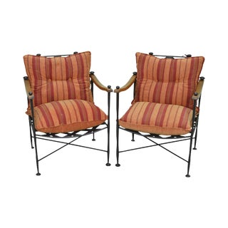 Hand Forged Steel Frame & Wood Frame Reclining Arm Chairs For Sale
