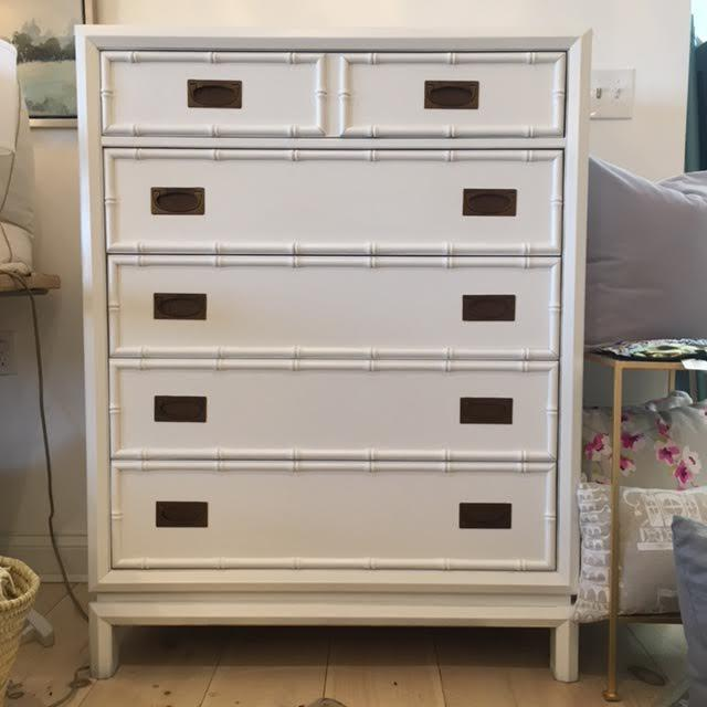Thomasville Vintage Thomasville Painted White Faux Bamboo Tall Dresser For Sale - Image 4 of 4