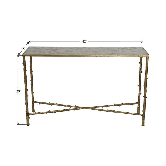 Glostrup Metal Entryway Console Table With Mirror Top - Image 7 of 7