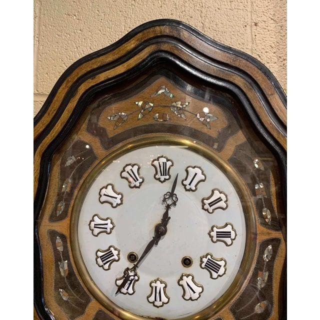 French 19th Century French Napoleon III Mother of Pearl Inlay and Painted Wall Clock For Sale - Image 3 of 12