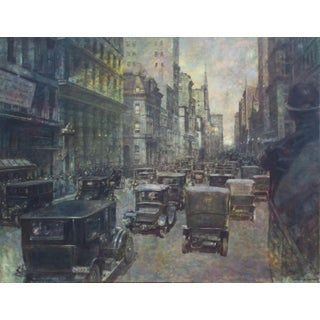 Late 20th Century Urban Scene from the 1920s Oil Painting by Liu Wenquan For Sale