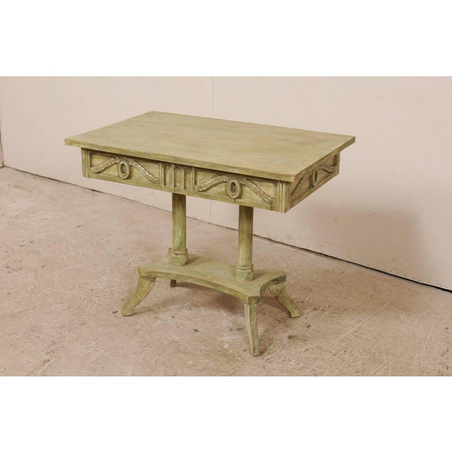 Mid 19th Century Swedish 19th Century Neoclassical Painted and Carved Wood Lindome Style Table For Sale - Image 5 of 10