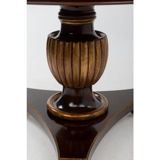 Italian Center Table Pedestal Base Inlaid Mahogany Burl Gilt Italy 1970s For Sale - Image 9 of 13