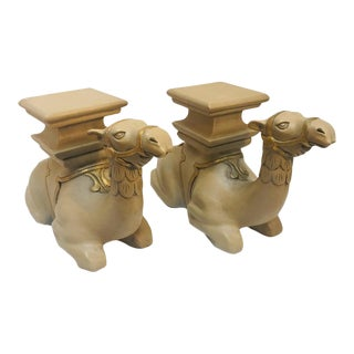 20th Century Moroccan Camel Sculptures Stools - a Pair For Sale