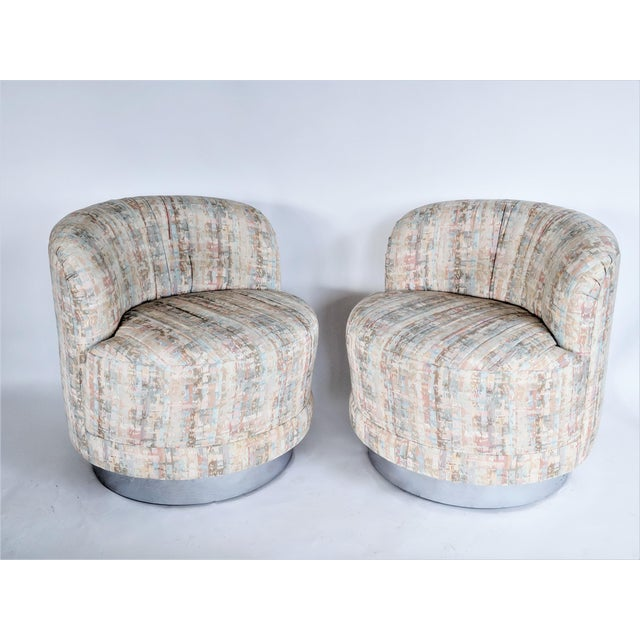 Mid-Century Modern Milo Baughman Style Swivel Lounge Chairs - a Pair For Sale - Image 3 of 10