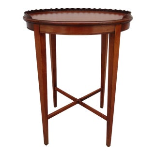Classic Oval Side Table With Wooden Gallery For Sale