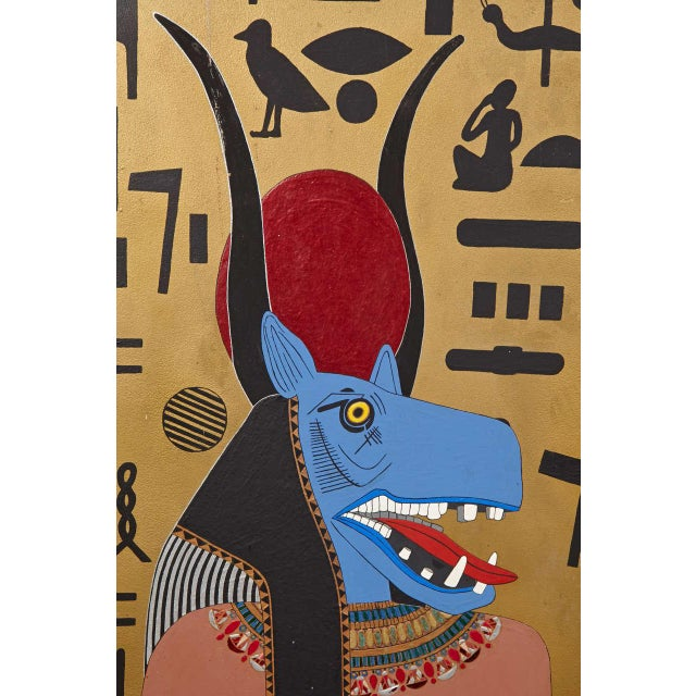 Art Deco Egyptian Themed Art Panels Triptych Book of the Dead Symbolism For Sale - Image 10 of 11