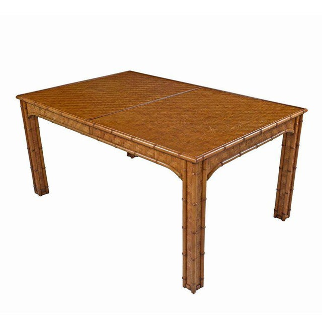 Hollywood Regency Parsons Style Rattan Basket Weave Parquet Dining Table For Sale In Tampa - Image 6 of 6