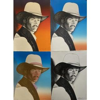 1980s Pop Art Style Cowboy Portrait Print of Lee Van Cleef For Sale