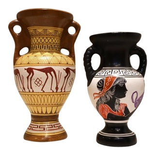 Hand-Painted Greek Pottery Vases - A Pair For Sale