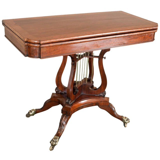 Federal Cross-Lyre Card Table For Sale