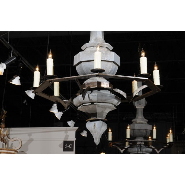 Metal Grand Scale Contemporary Industrial Chandelier Made with 19th Century Zinc Finial For Sale - Image 7 of 11