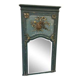 19th C French Antique Painted Trumeau Mirror For Sale