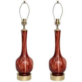 Barovier Ox Blood & White Murano Glass Lamps - A Pair For Sale