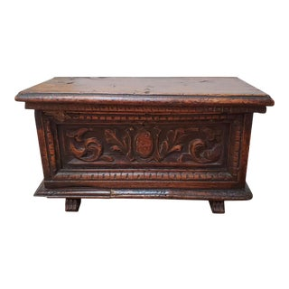 Small 17th Century Renaissance Italian Walnut Cassone or Marriage Chest For Sale