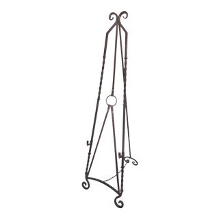 Equestrian Motif Easel With Faux Painted Wrought Iron For Sale