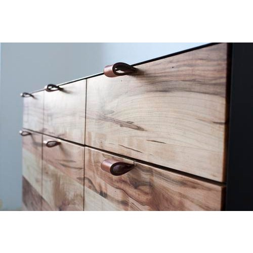 Solid maple drawer boxes + whitewashed ghost maple interior + natural ghost maple drawer fronts + leather pulls. Hand...