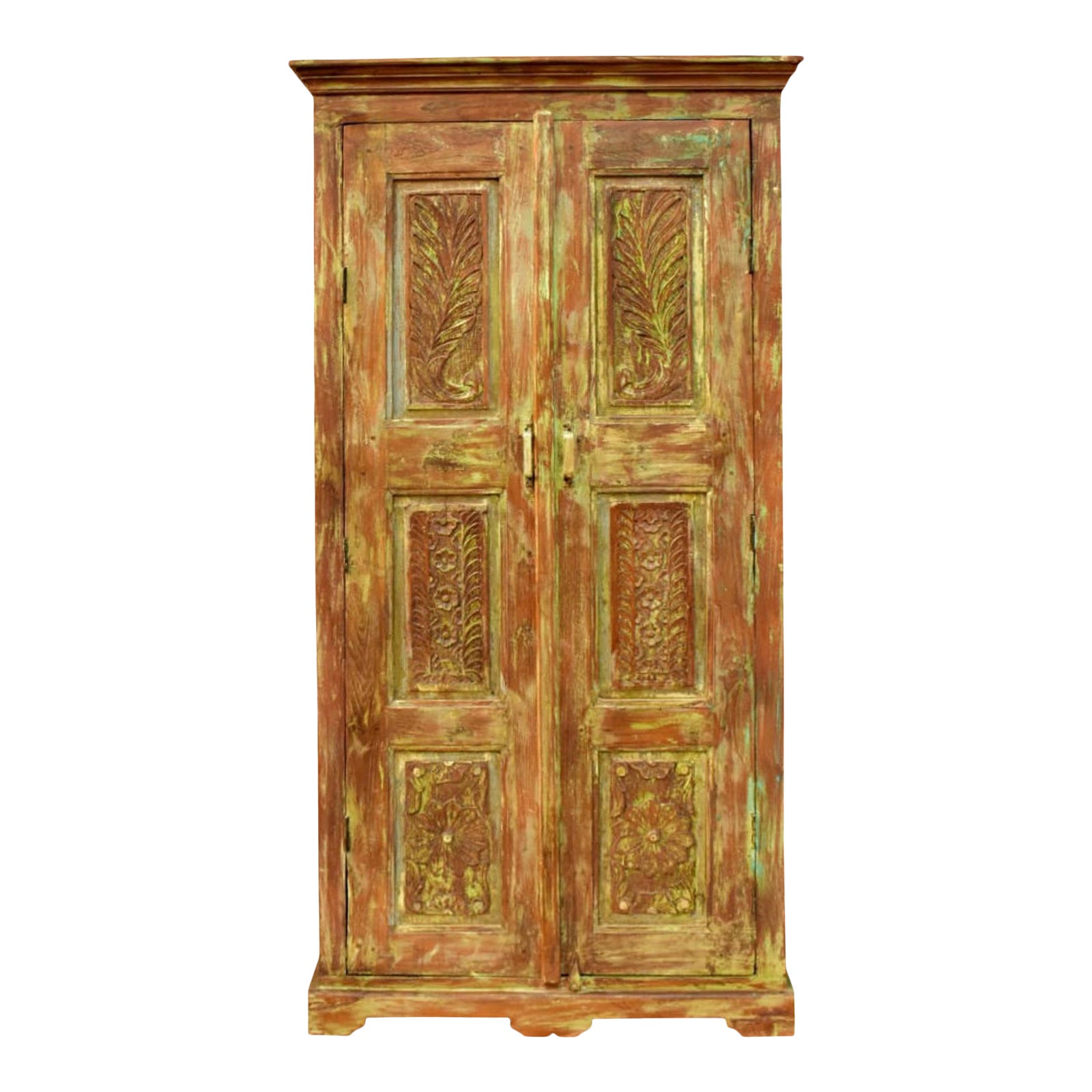1920s Rustic Farmhouse Floral Carved Armoire Chairish
