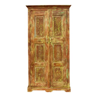 1920s Rustic Farmhouse Floral Carved Armoire For Sale