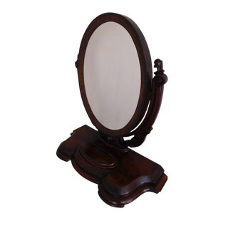 Victorian Shaving Mirror on Walnut Stand For Sale